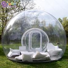 Бесплатная доставка Надувные палатка с прозрачным куполом с туннель для кемпинга Высокое качество открытый tarvel легкий прозрачный купол палатка