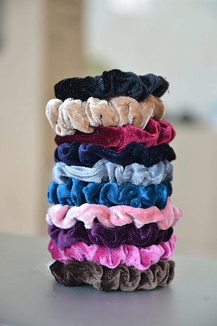 10 pcs/lot Luxurious Soft Feel Velvet Hair Scrunchie Ponytail Donut Grip Loop Holder Stretchy Hair band
