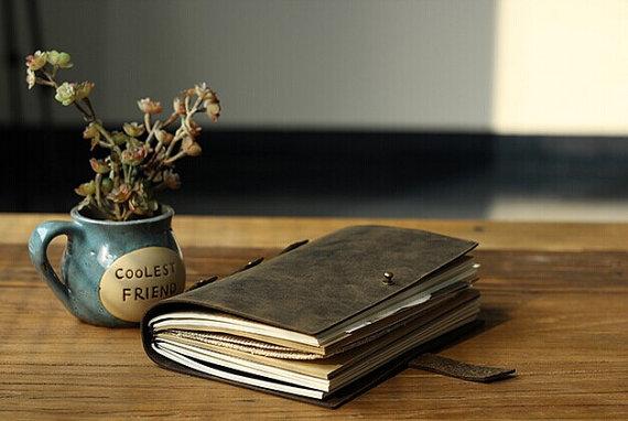 Journal en cuir Vintage Journal portable papier d'artisanat rechargeable avec boîte-cadeau carnet de voyage