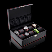 Top Leather Watch Box Case Black 10 Slots Watch Storage Boxes Luxury Watch Display Box Women Gift Jewelry Box Holder W038 new 3 slots roll leather watch storage box case black men s mechanical display watch case women bracelet jewelry gift boxes