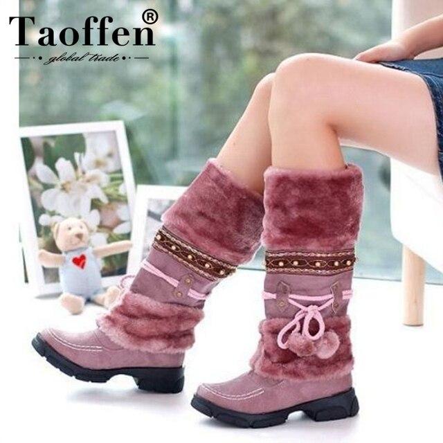 Taoffen yeni kış sıcak diz çizmeler kalın kürk yüksek topuk çizmeler kadın ayakkabıları moda seksi uzun kar botları büyük boy 35  43