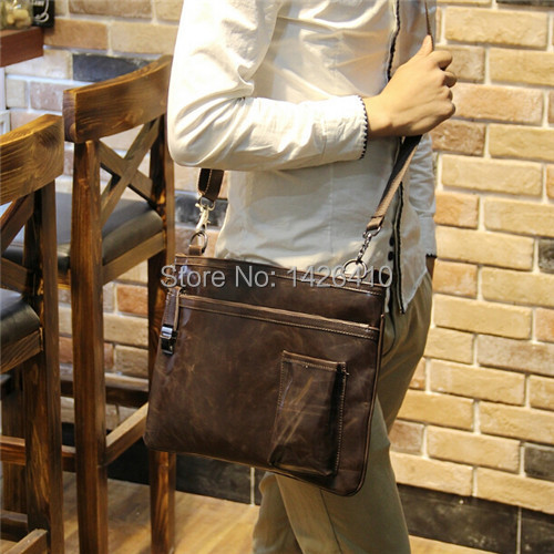 28554bede93e New arrival hot sale Crazy Horse leather messenger bag for men ...