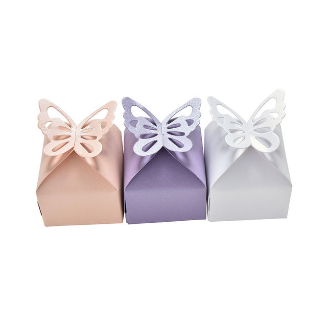 10 Pcs Cute Butterfly Laser Paper Candy Box Wedding Favors Gift Box  Chocolate Box for Guests Party Supplies Wedding Decoration 2d56caa432