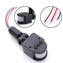 Trwały ED Outdoor 110 220V automatyczny czujnik podczerwieni PIR czujnik ruchu przełącznik ścienny 140 ° z oświetleniem LED|Czujnik i detektor|Bezpieczeństwo i ochrona -