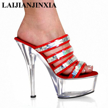 Red Platform Sandals | LAIJIANJINXIA Red Sexy Lady 15cm Dance Party Shoes High Heels Transparent Platform Dancing Shoes Sandals Design Pole Dance Shoes