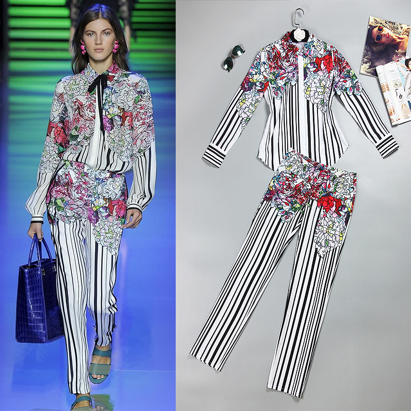 S 5XL عالية الجودة 2019 الصيف والخريف المدرج جديد الأزياء مخطط الزهور طباعة السلس مريحة الأقمشة النساء عارضة مجموعة-في مجموعات نسائية من ملابس نسائية على  مجموعة 1