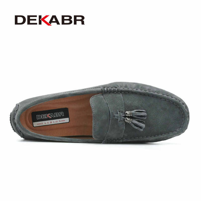 DEKABR Suede Leather Men Loafers Moccasins Designer Men Casual Shoes High Quality Breathable Flats For Men Boat Shoes Size 38-44