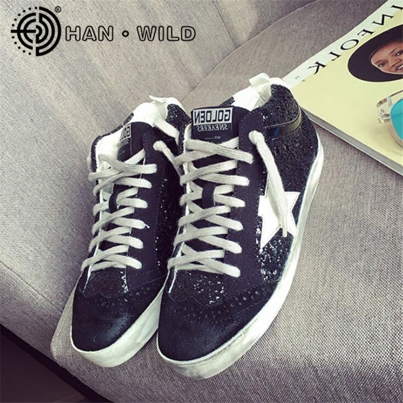 Genuine Leather Women Sequins Dirty Shoes Golden Glitter Star Distressed Leather Shoes Ladies High Top Do Old Dirty Shoes Flats woman burst leather casual shoes golden star women do old dirty shoes female lace up distressed leather vintage flat shoes
