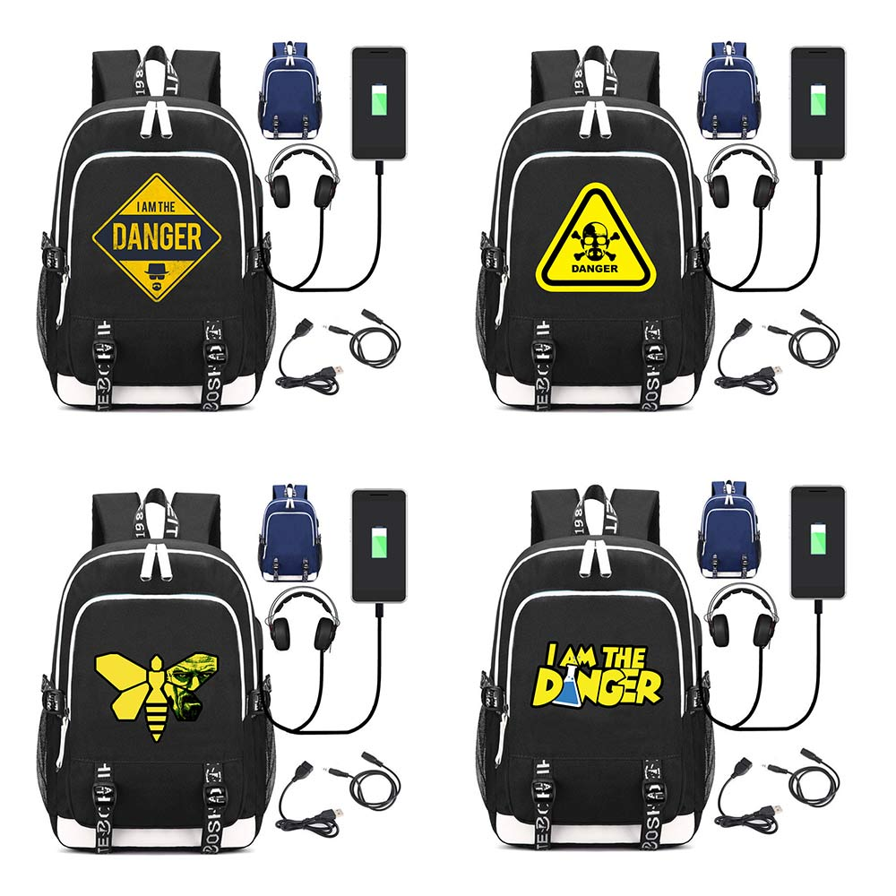 OHCOMICS BreakingBad Multifunction External USB Charging Canvas Backpack Rucksack Children Teenagers Travel Laptop Bags