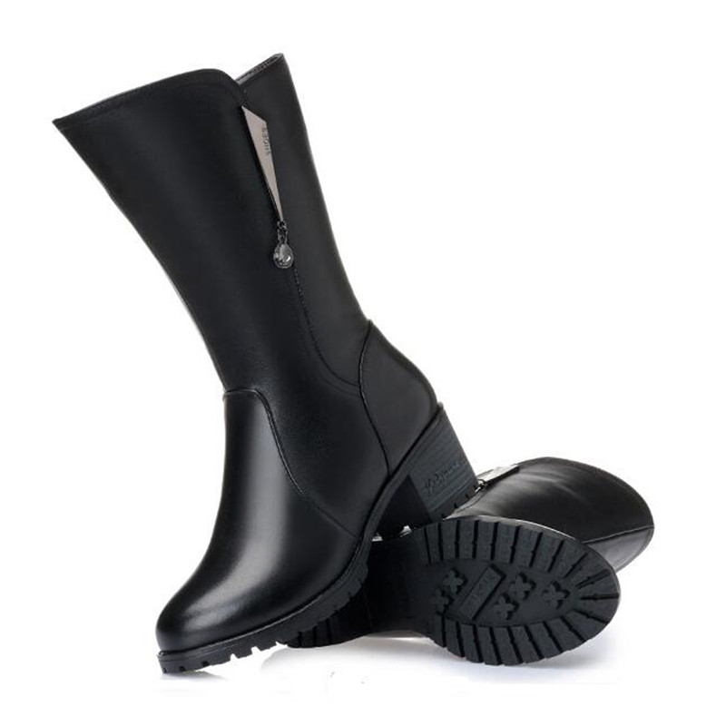 Chaussures Strass Cuir Grande Inside Wool Taille black Black Bottes Fourrure Laine Élégant Véritable Hiver Velvet Chaud Femmes Nouvelle 2018 brown Confort Inside Inside Une KuF31Tc5lJ