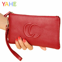 YaHe Genuine Leather Women   Wallets   2018 Brand Luxury Female Long Clutch Purse Phone Coin Zipper Pocket Slim Hand Bags for Ladies