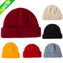 644b6f46b5d Winter Unisex Black Grey Red Solid Color Rib Knitted Beanies Hats For Woman  Mens Ladies Casual