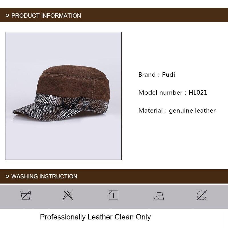 4fc21cdb207 HL021 Genuine Leather Men Baseball Cap Hat Mens Real Leather Adult ...