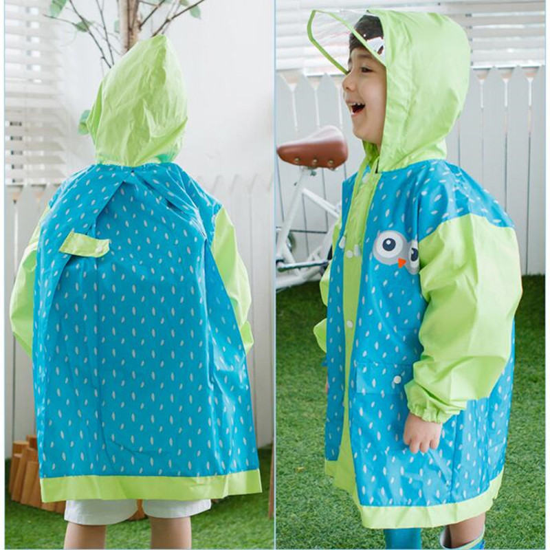 waterproof raincoat for children  baby girls boys,rain coat kids outdoor poncho Jacket with backpack