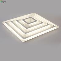Современный простой квадратный dimmable Потолочные светильники блеск акрил, металл Спальня светодиодный потолочный светильник Обеденная Celing