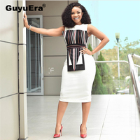 GuyuEra 2019 African Dress for Women Organ Print Stitching Sexy Bag Hip White Dress