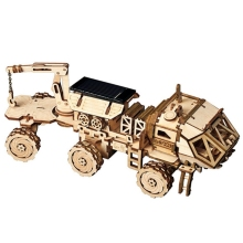 Robotime Moveable Discover Rover Solar Energy Toy 3D Diy Cutting Wooden Model Building Kit Gift For Children Adult LS504