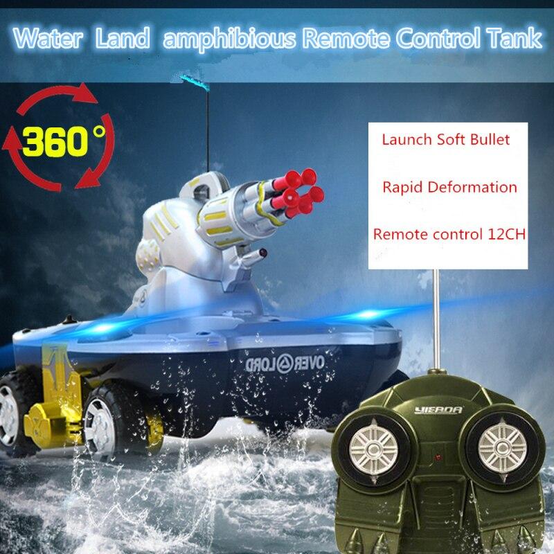 Eau terre amphibie télécommande réservoir navire charge lancement cible pliage ramper 360 ° Rotation clignotant lumière