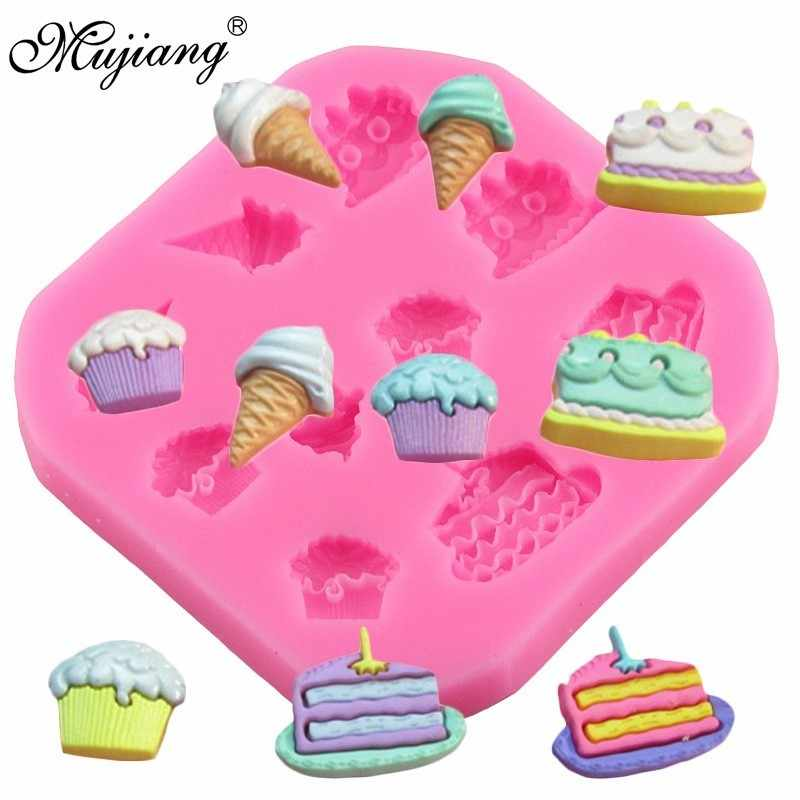 Cupcake Ice Cream Shape Silicone Molds Cupcake Fondant Cake Decorating Tools Polymer Clay Chocolate Gumpaste Mold Cookie Baking