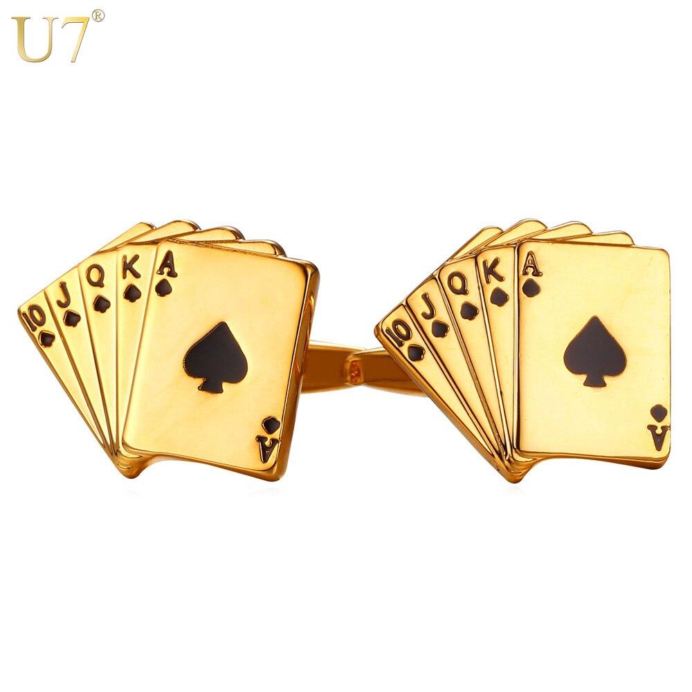 U7 Poker Manschettenknöpfe für Herren Hemd Zubehör Gold Farbe Qualität Manschettenknöpfe Tasten Hochzeit Männer Schmuck Groomsmen Geschenke