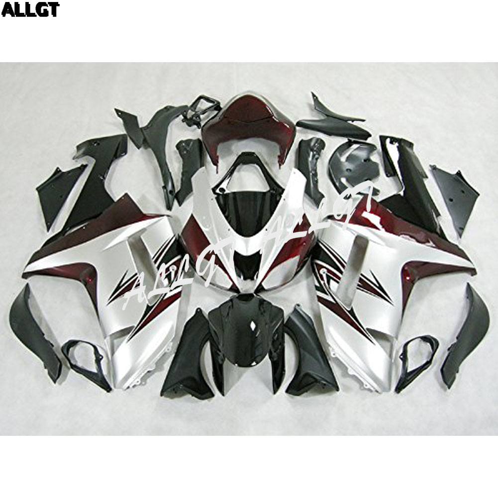 Silver ABS Injection Molded <font><b>Fairing</b></font> Kits Fit for Kawasaki <font><b>ZX6R</b></font> ZX-6R Ninja 636 2007 <font><b>2008</b></font> <font><b>ZX6R</b></font> ZX-6R Ninja 636 07 08 image