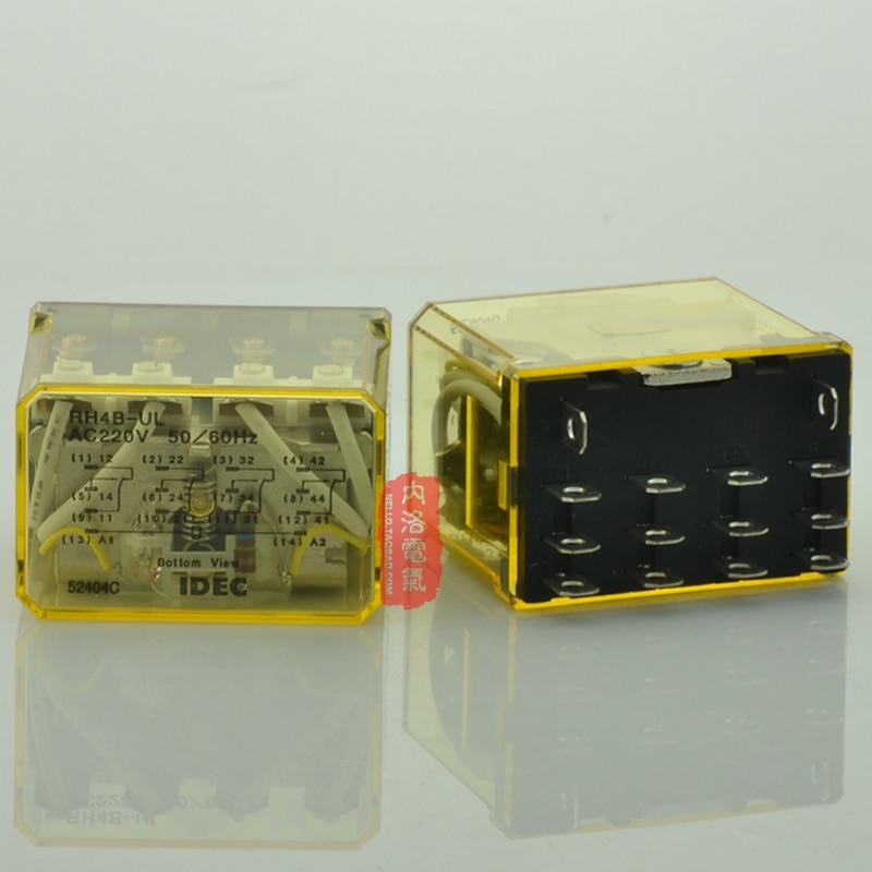 цена на [SA]Japan 14 feet IDEC Izumi relay relay 10A RH4B-UL AC220 AC220V 4a4b--5pcs/lot