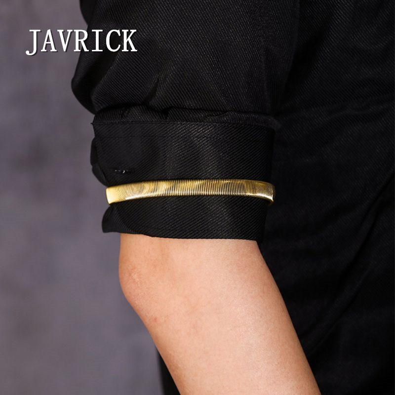 JAVRICK Arm Warmer Shirt Sleeve Holder Metal Anti-Slip Elastic Bracelets Stretch Armband