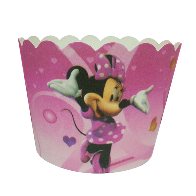 100pcs Disney Dancing Minnie Mouse Paper Cake Cupcake Cup Tray Liners Baking Muffin Kitchen Cupcake Cases Oven Baking Tools Disposable Party Tableware Aliexpress
