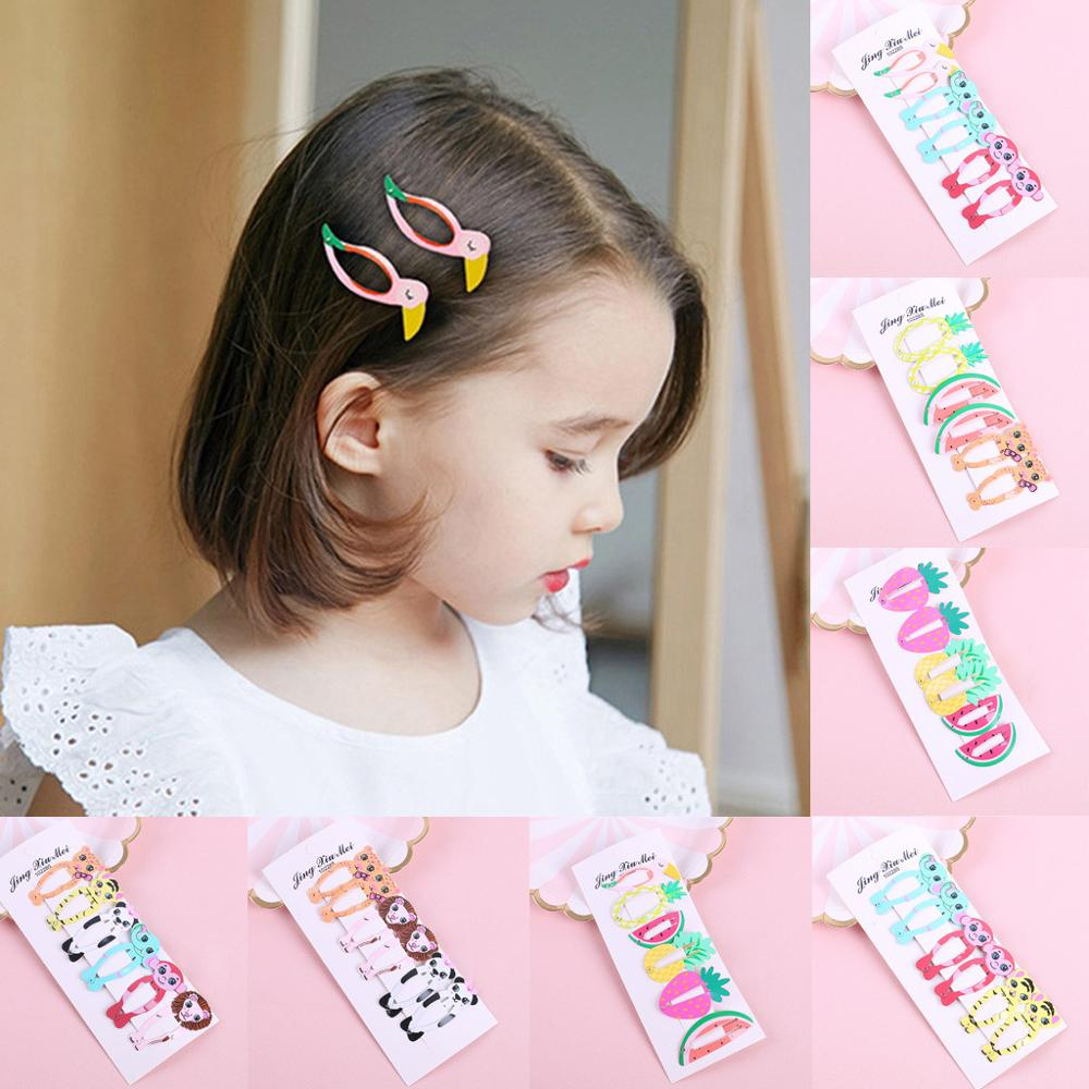 Baby Hairclip 2019 Fashion Kids Infant Girls Cartoon Fruit Hairclip Animal Hairpin Barrettes Headwear Set
