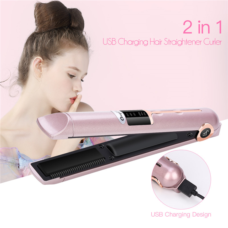 2600mAh Lithium Battery USB Rechargeable Hair Straightener Curler Roller Mini Ceramic Hair Curling Wand With Power Bank Function недорого