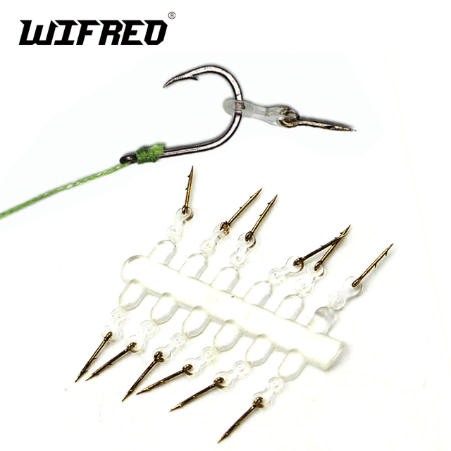 Wifreo 12PCS Metal Bait Spike Carp Fishing Hook Bait Sting Boilies Pin with Clear Rubber Corn Ronnie Hair Rig Carp Feeder Tackle