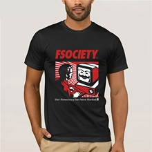 Señor Robot Fsociety máscara T camisas de moda de los hombres Camiseta de  algodón de manga 487084da502