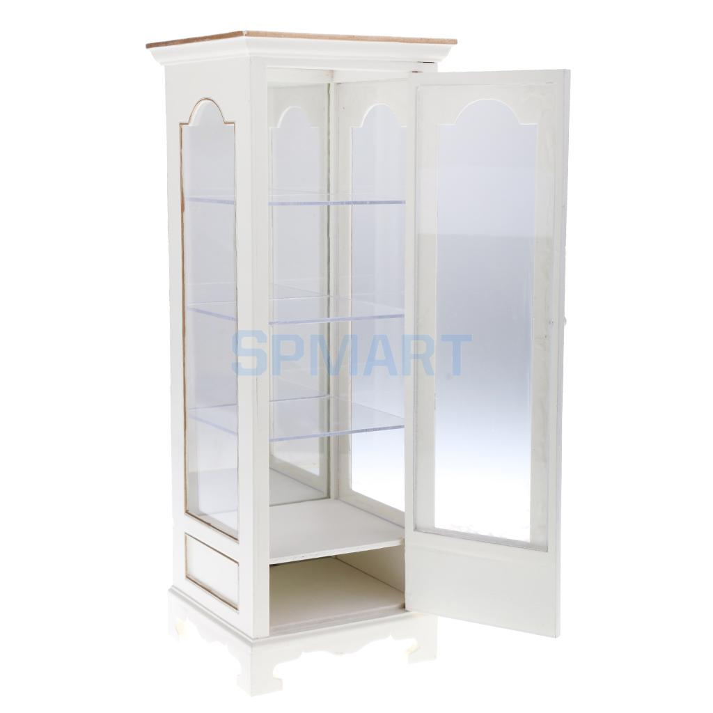 MagiDeal 1:6 Scale Dollhouse Miniature Furniture Wooden Display Cabinet Transparent Showcase For BJD Dolls Accessories miniature dollhouse on table 1 12 scale house shape showcase