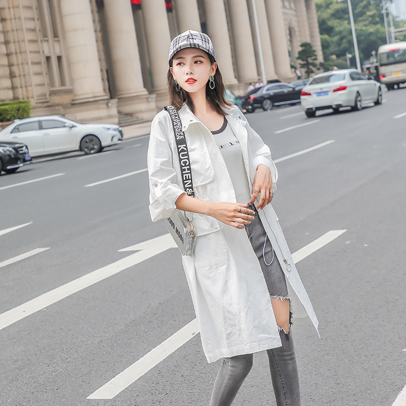 Windswear Women's Medium And Long-Style New Korean Version Of Loose And Slim Knee-Length Jacket