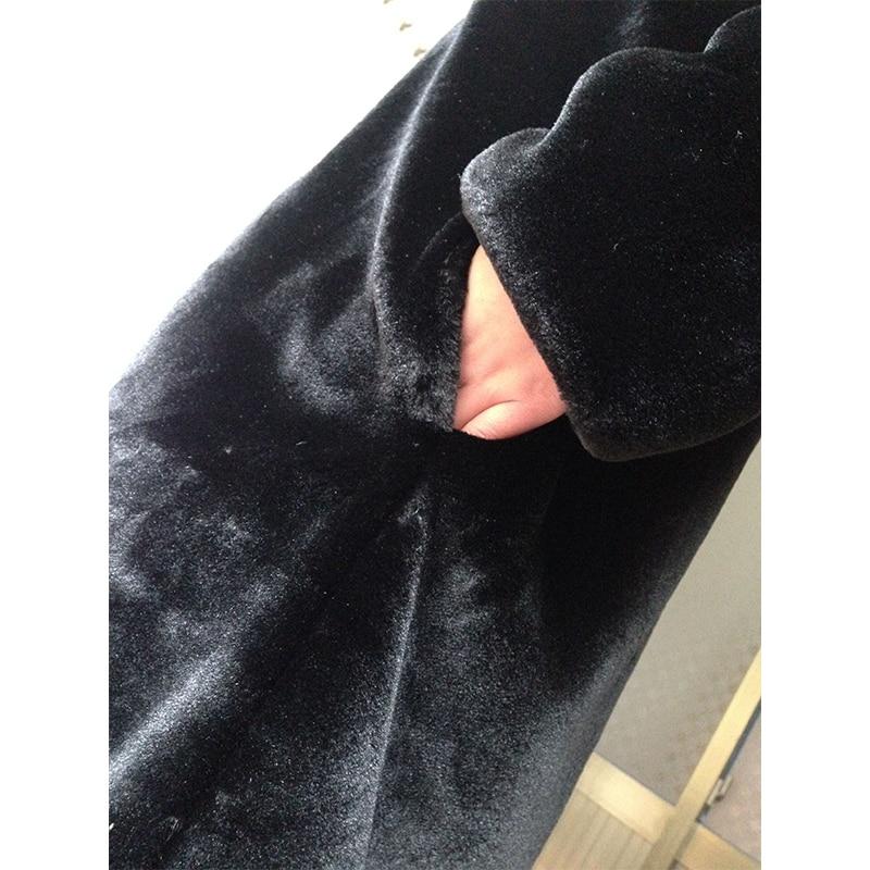 Winter dicken warmen Pelzmantel mit Kapuze X-lange schwarze - Damenbekleidung - Foto 6