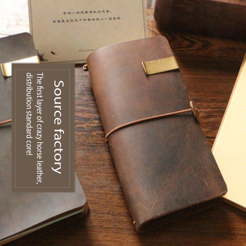 Qualité Vintage en cuir véritable cahier papier de luxe intérieur 80g bloc-notes en cuir journal journal journal Agenda planificateur papeterie