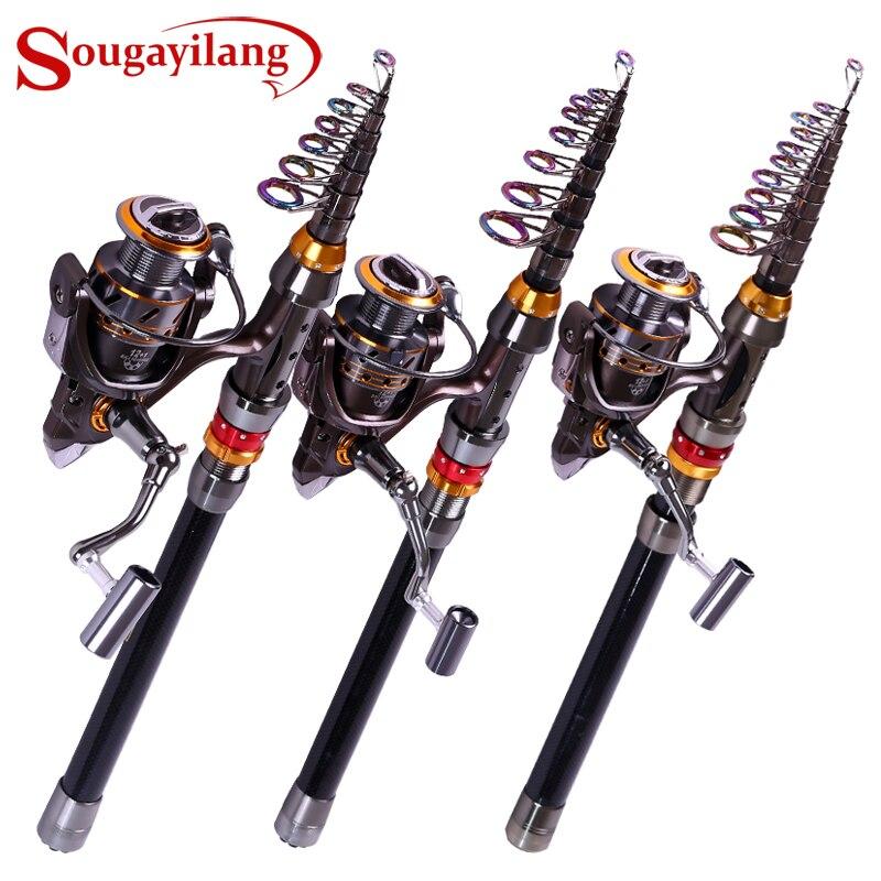 Sougayilang 99% Carbon Fiber Telescopic Fishing Rod And 12+1BB Spinning Fishing Reel Kit Travel Portable Fish Pole Wheel Combo
