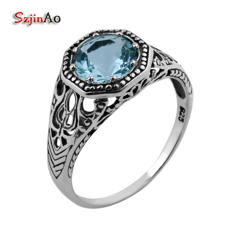 Szjinao Fashion 8x8mm 925 Sterling Silver Ring Border Flowers Copy Antique Blue Crystal Silver Women Ring Wholesale