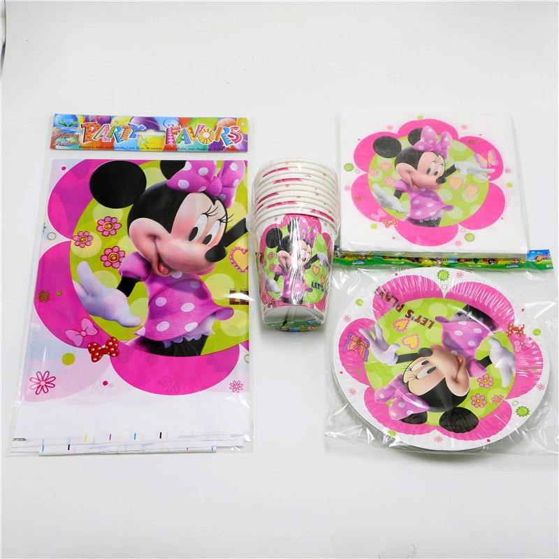 61pcs \ lot Kids Baby Shower Favors Tablecloth Cartoon Decoration Plates <font><b>Minnie</b></font> <font><b>Mouse</b></font> <font><b>Birthday</b></font> Party Napkins <font><b>Cups</b></font> Events Present