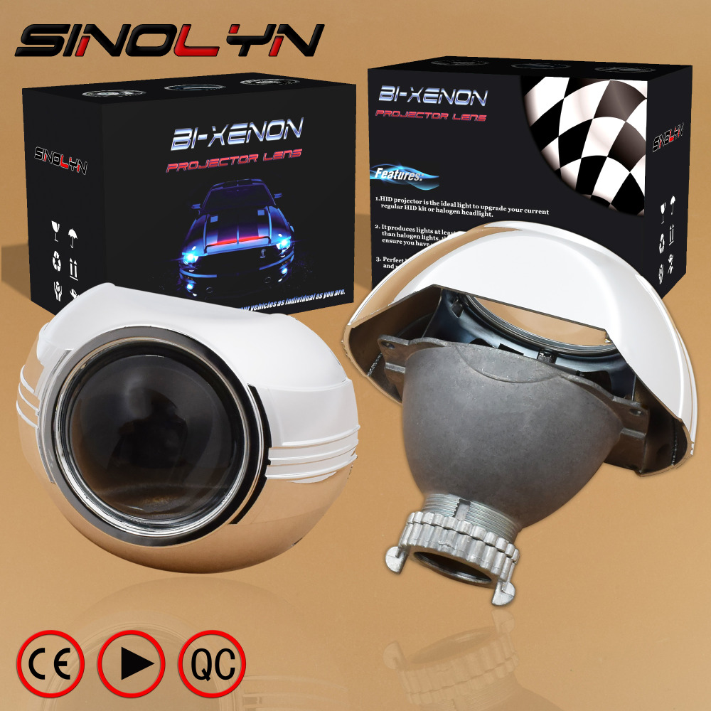 SINOLYN Car Styling Automobiles Metal 3.0 inch HID Bi xenon Headlight Projector Lens W/Shrouds Mask, Use D2S D2H Bulbs Lamp 1pc 2 5 hid xenon ultimate bi xenon projector lens parking car styling headlight diy lamp for h1bulb with shrouds h4 h7 socket