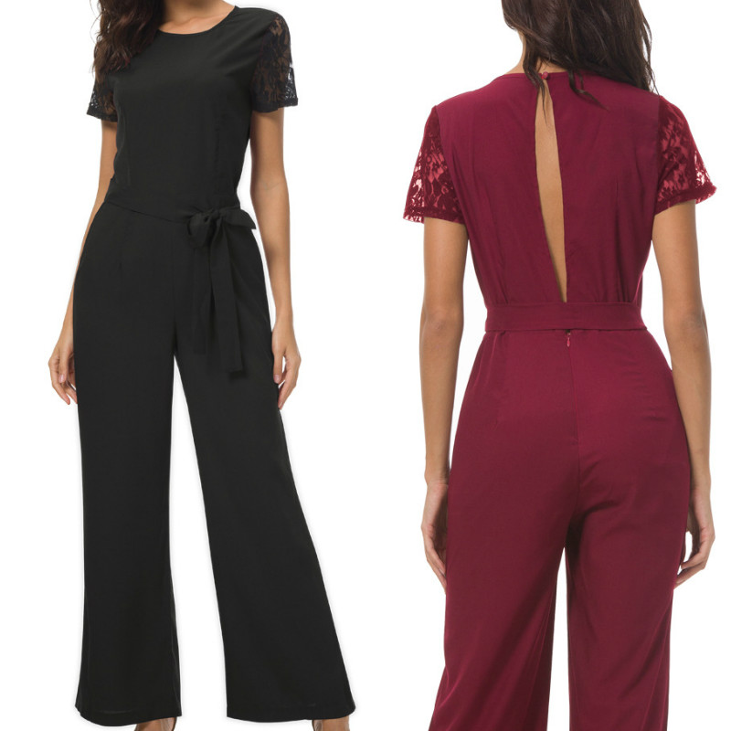 Elegant Office Lady Casual   Jumpsuits   Short Sleeve Lace Women Overalls Long Pants Pockets Summer   Jumpsuits   Plus Size GV895