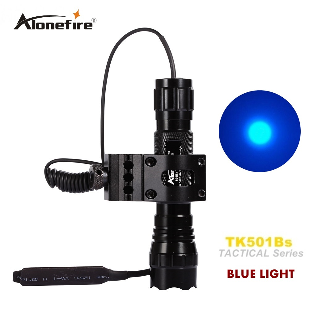 tactical Flashlight 501B led blue light Hunting Rifle Torch Shotgun lighting+Tactical mount+Remote switch led tactical flashlight 501b cree xm l2 t6 torch hunting rifle light led night light lighting 18650 battery charger box