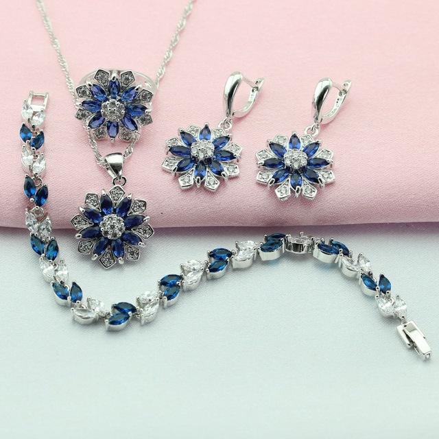 Joyería Plateada de plata Conjuntos Flor Azul Creado Sapphire Para Las Mujeres Gota Pendientes/Pulsera/Collar/Pendiente/Del Anillo Caja de Regalo libre