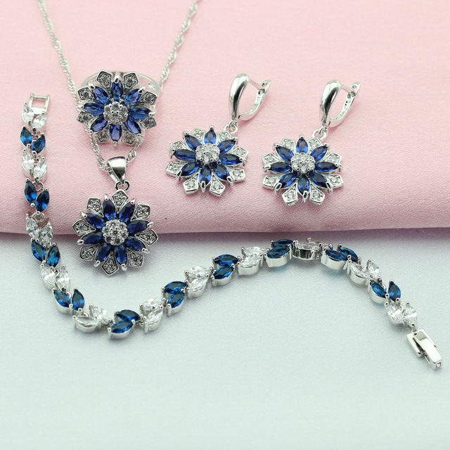 Silver Plated Jewelry Sets Flower Blue Created Sapphire For Women Drop Earrings/Bracelet/Necklace/Pendant/Ring Free Gift Box