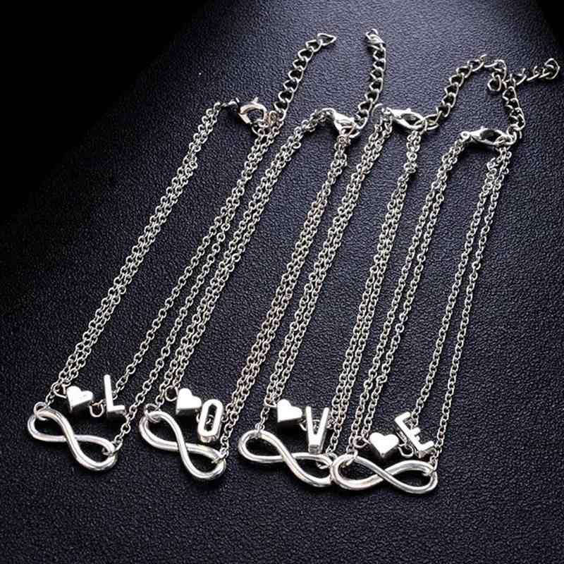 1 piezas nueva moda mujer 26 letras tobillo pulsera infinito símbolo Simple Metal corazón tobillera sandalias pies cadena joyería