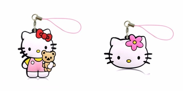 f48782ed7 1PCS PVC Cartoon Hello Kitty Lanyard Cute Anime Hanging Ornaments for Cell  Phone Backpack Decoration Fashion Charms Strap Gift