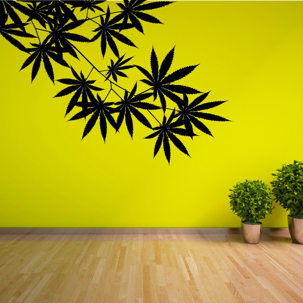 Green Tree Leafs Plant Weed Vinyl Design Wall Sticker Art Home ...