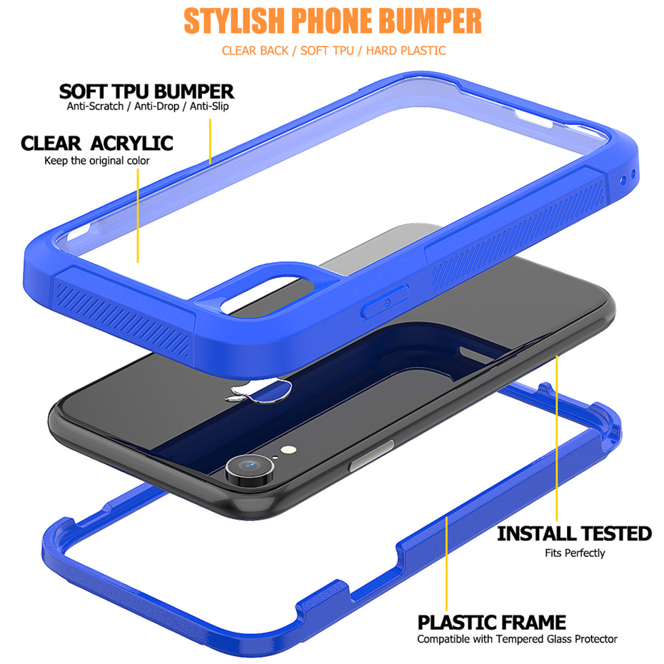 HTB1Za0HLMHqK1RjSZFgq6y7JXXa9 Transparent Anti-Scratch Protective Case For iPhone 11 Pro Max 6 6s 7 8 Plus X XS Max XR Hard PC+ TPU Bumper Dual Layer Cover