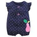 New Born Baby Girl Roupas de Algodão Do Bebê Meninas Roupas Azul Criança Crianças Traje Polka Dots Jumpsuits Romper Do Bebê Menina Do Verão