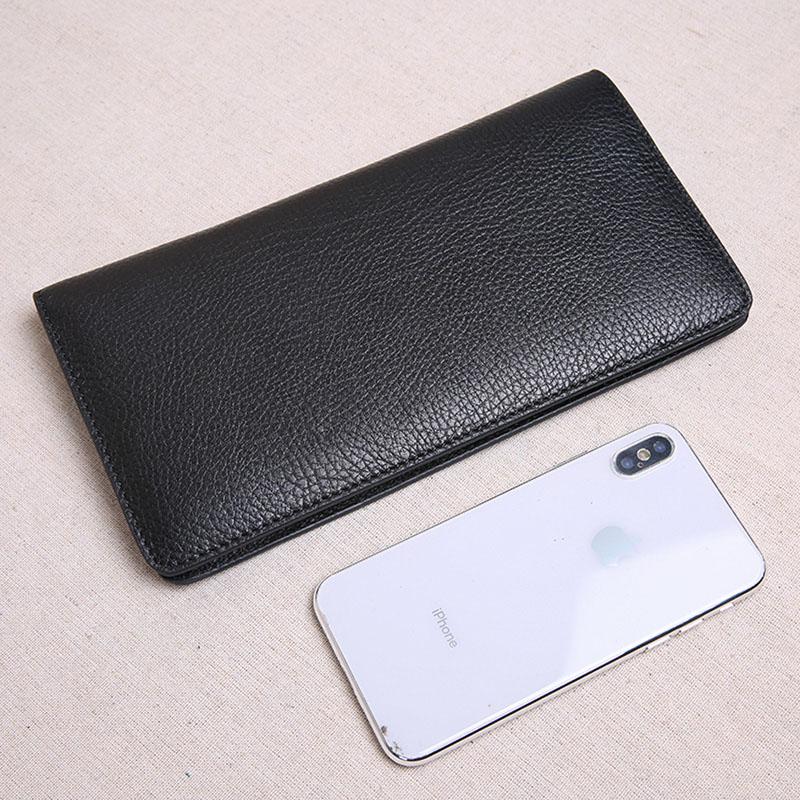 Lange Schwarzes Großen Kleine Der Leder Weiche Bjyl Männer Erste Handtasche dünne Ultra Telefon Brieftasche Kapazität Schicht 8xURnRZw